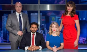 Nish Kumar on The Mash Report with Steve N Allen, Rachel Parris and Ellie Taylor.