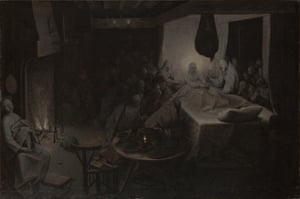 The Death of the Virgin, from Bruegel in Black and White: Three Grisailles Reunited, at the Courtauld Gallery, London