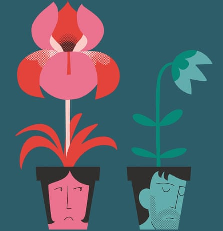 Illustration of a female and male depicted as plant pots, the female has large pink flower, the male has small drooping flower