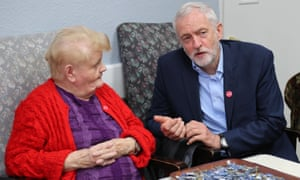 Jeremy Corbyn speaks to Bridget Shakur during an election campaign visit to Bedford Guild House, which provides support for people over 50.