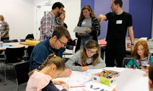 Drawing things with wings with Rose and David Simonds at Guardian cartoon and art family day, 10 October 2015.