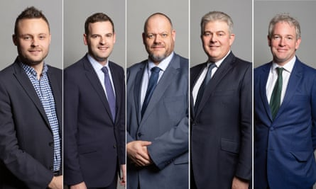 Composite: Conservative MPs who have spoken in defence of ministers' continuing refusal to U-turn on the issue of free school meals. From left: Ben Bradley, Paul Holmes, Mark Jenkinson, Brandon Lewis, Danny Kruger