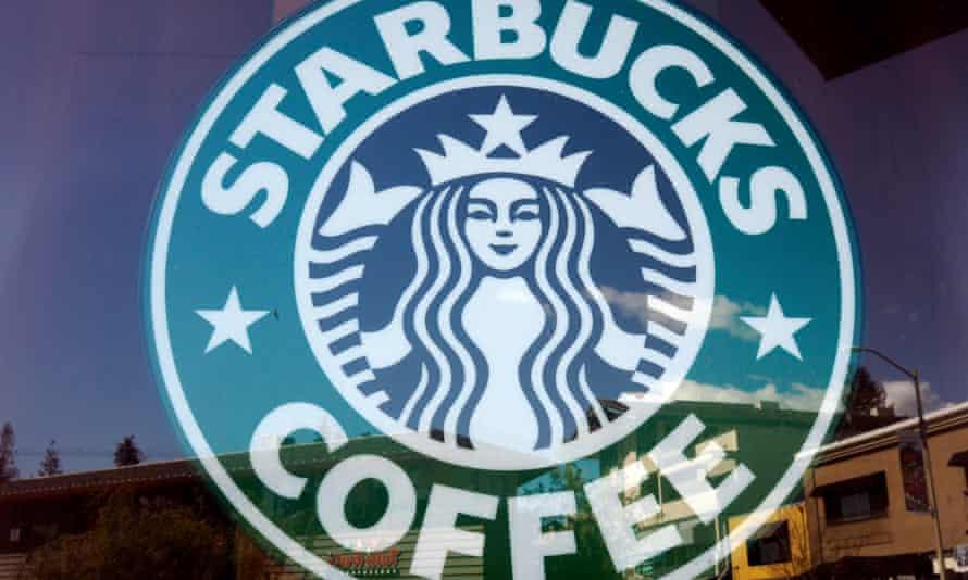 Starbucks logo on cafe window