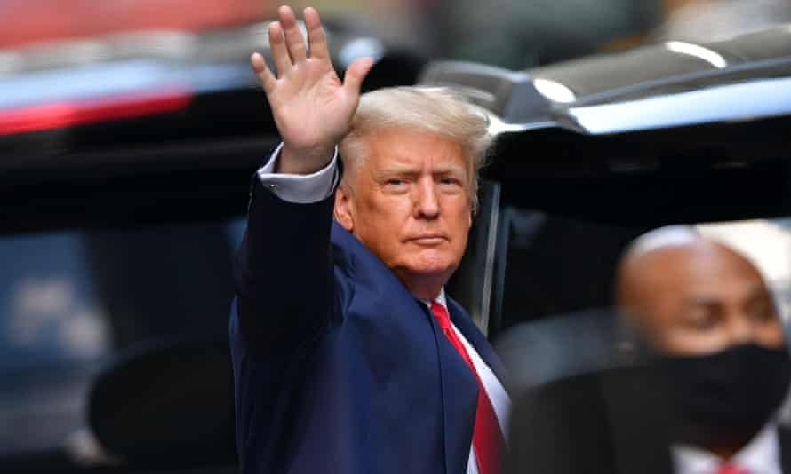 Donald Trump leaving Trump Tower in New York