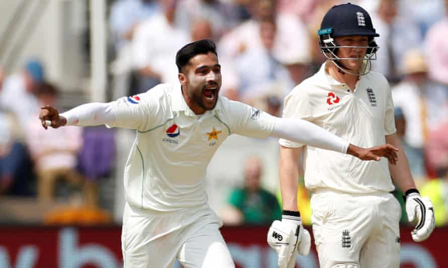 Mohammad Amir celebrates taking the wicket of Mark Wood as Pakistan ripped through Eng;and's tail on the morning of day four to set up a comprehensive first-Test win