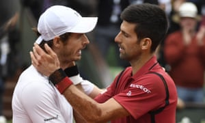 What's your secret?... Murray and Djokovic after the French Open final. (Djokovic won.)