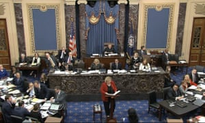 In this image from video, the House impeachment manager Zoe Lofgren speaks during the impeachment trial.