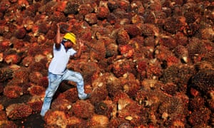 A worker at a palm oil factory in Sepang, near Kuala Lumpur, Malaysia