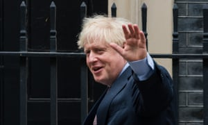 Boris Johnson leaves Downing Street for prime minister's questions in the House of Commons.