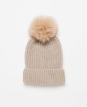 £9.99, zara.com. Pompom beanie hat