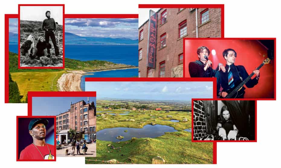 Clockwise from top right, Paul and Linda McCartney in 1971 and Saddell Bay; the Leadmill and Pulp; Aphex Twin and Carn Marth; and Giggs and Peckham