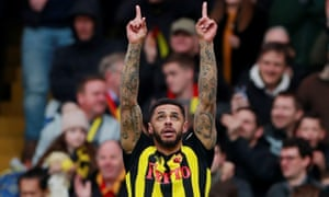 Watford's Andre Gray celebrates scoring their second . Action Images via Reuters/Andrew Couldridge