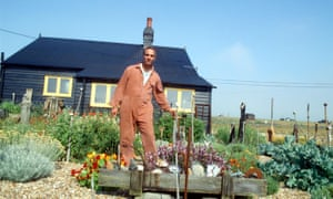 Derek Jarman at his home in Dungeness in 1992.