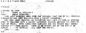 The cable to Henry Kissinger about a collision involving two nuclear submarines near Holy Loch in Scotland.