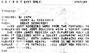 The cable to Henry Kissinger containing details of the collision