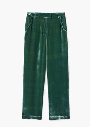 Feel good It may be the unofficial sartorial sponsor of party season, but velvet can be of huge comfort in January. Don't underestimate the extent to which touch-me fabrics make you feel fabulous - these Mango trousers fit the bill. Trousers, Mango.com, £29.99.