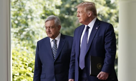 President Andrés Manuel López Obrador with Donald Trump at the White House in July. 'They understand each other perfectly because they're nationalists. They're nationalist presidents,' said one Amlo supporter.