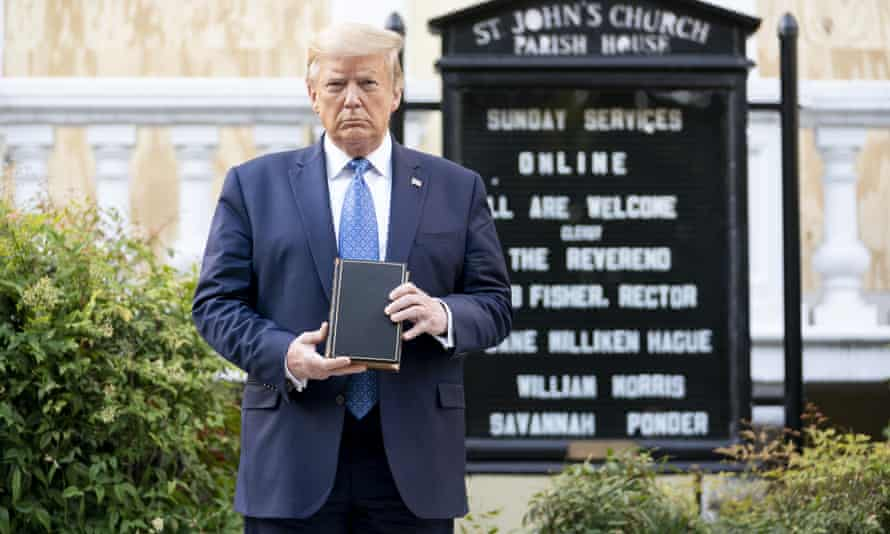 Donald Trump visits St John's Episcopal church, known as the church of Presidents's, in nearby LaFayette Square on 1 June.