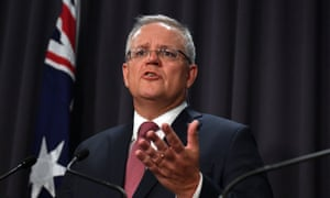 Australia's prime minister Scott Morrison gives an update on the coronavirus at a press conference on Tuesday
