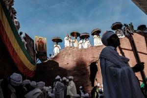 Orthodox pilgrims attend a Christmas Eve celebration at Bet Medhane Alem in Lalibela, Ethiopia