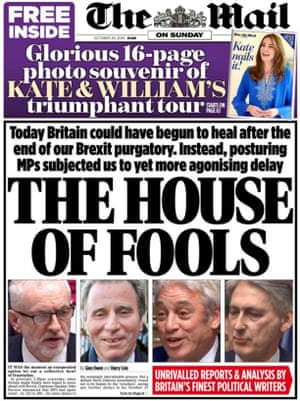 Mail on Sunday front page 20.10.19