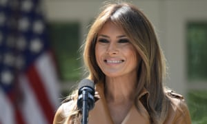 Melania Trump speaking at the White House on 7 May.