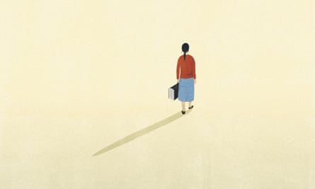 Illustration of woman walking away carrying suitcase