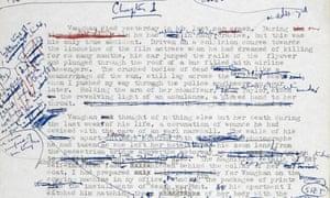 JG Ballard's 1973 manuscript for Crash. Photograph: The Estate of JG Ballard / PA Wire