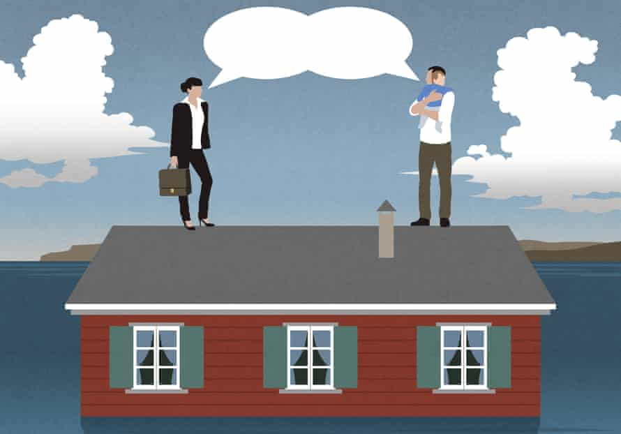 Illustration of couple standing on roof of house, she is wearing a suit and he is holding a baby