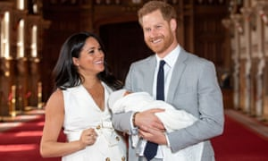 Prince Harry and Meghan, Duchess of Sussex with their baby son at Windsor Castle, May 8 2019
