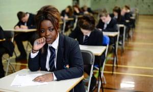 Pupil taking an exam