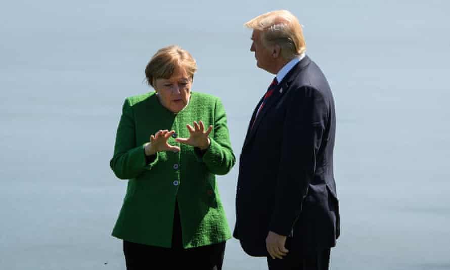 Angela Merkel and Donald Trump.