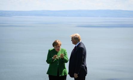 Angela Merkel and Donald Trump at the G7 summit, 2018