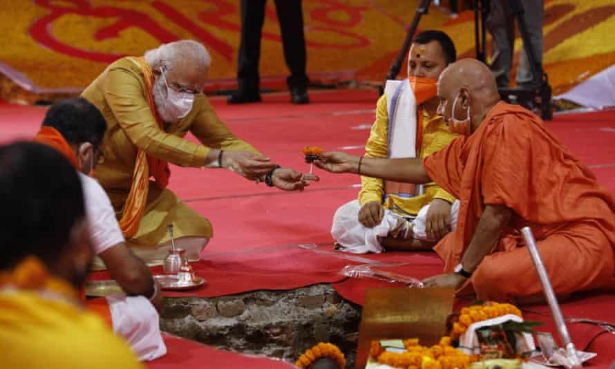 Narendra Modi takes part in the groundbreaking ceremony in Ayodhya