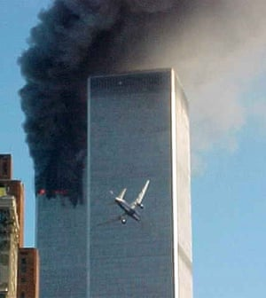 A plane heading into the World Trade Center on 9/11