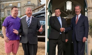 Left: Lee Boardman as Leave.EU campaign funder Arron Banks and Paul Ryan as its leader Nigel Farage in the TV drama. Right: the real Farage and Banks in October 2014, when Banks donated £1m to Ukip.