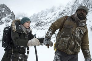 Falling … Kate Winslet and Idris Elba in The Mountain Between Us.