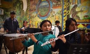 Young flautists rehearse in the Casa de la Cultura, where Yalitza Aparicio was discovered in Tlaxiaco, Oaxaca.