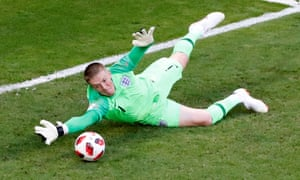 England's Jordan Pickford makes a save