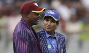 West Indies Legends' Brian Lara and India Legends' Sachin Tendulkar before the Road Safety World Series match in Mumbai last week.
