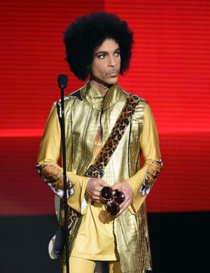 <strong>Struck gold</strong> Prince speaks onstage during the awards.
