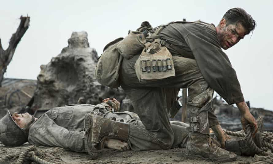 Andrew Garfield as Desmond Doss in Hacksaw Ridge.