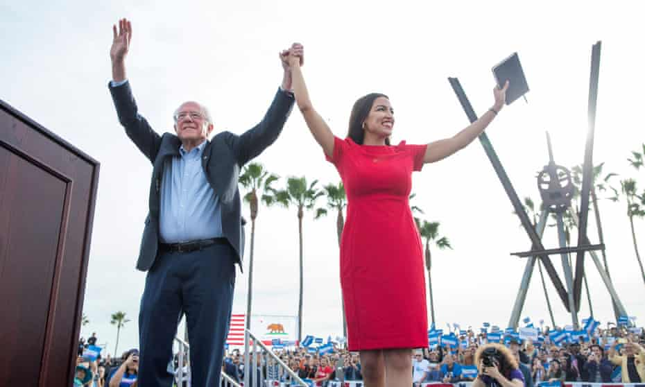Bernie Sanders and Alexandria Ocasio-Cortez during a campaign rally at Venice Beach in Los Angeles in December.