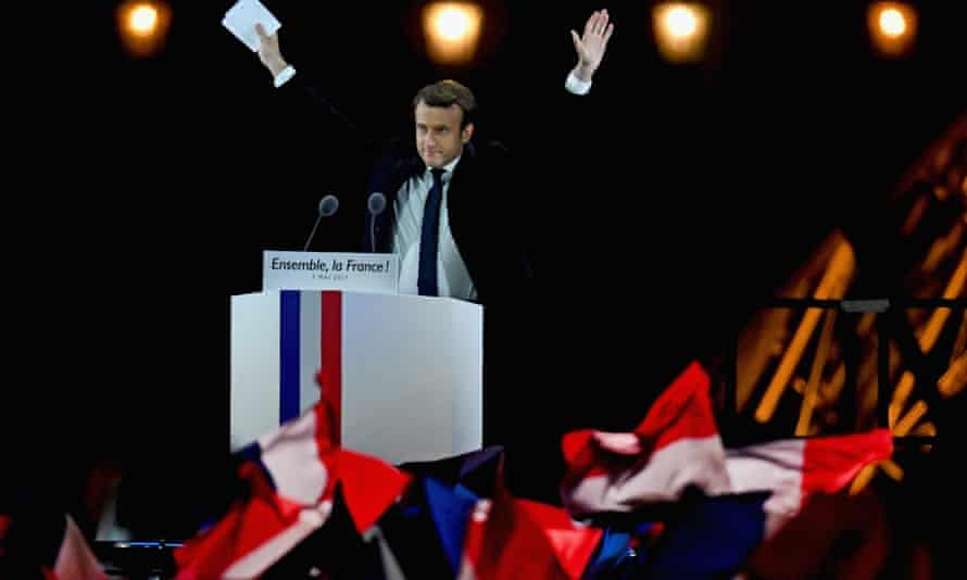 French president-elect Emmanuel Macron delivers his speech in front of the Pyramid at the Louvre Museum in Paris.