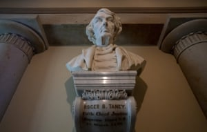A marble bust of chief justice Roger Taney is displayed in the Old Supreme Court Chamber in the US Capitol.