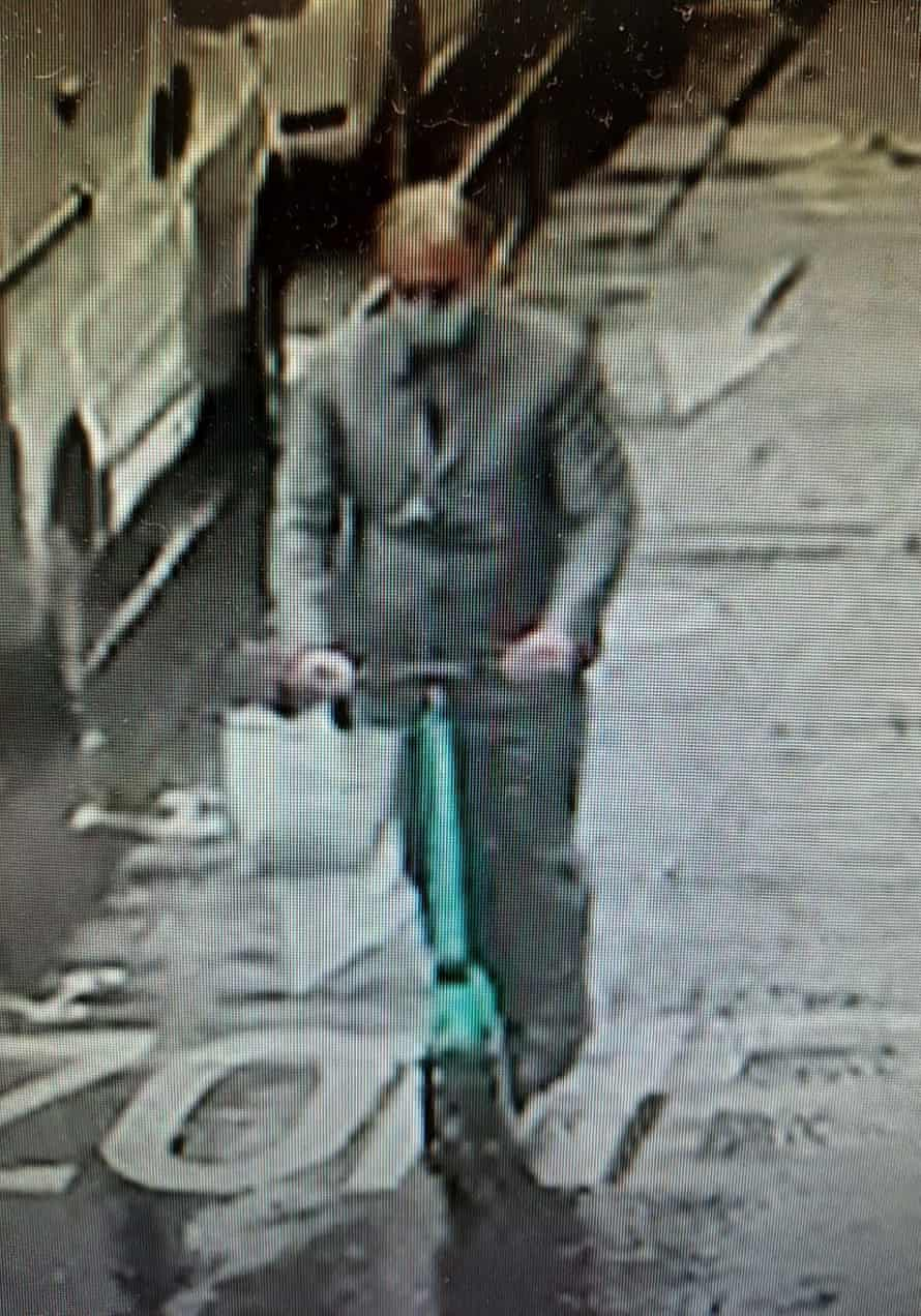 CCTV shows the grey-haired alleged thief leaving the shop on a green scooter.