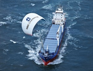 The German company SkySails uses large kites to provide wind power to reduce fuel costs and emissions.