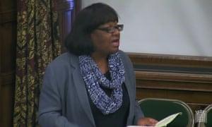 Diane Abbott speaking in the Westminster Hall debate.