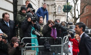 Rishi Sunak, the new chancellor, facing photographers in Downing Street this morning.