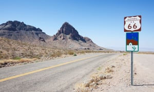 Route 66 outside Oatman, Arizona. Millions still seek out portions of the route to drive in an unhurried style without traffic jams and chaos.